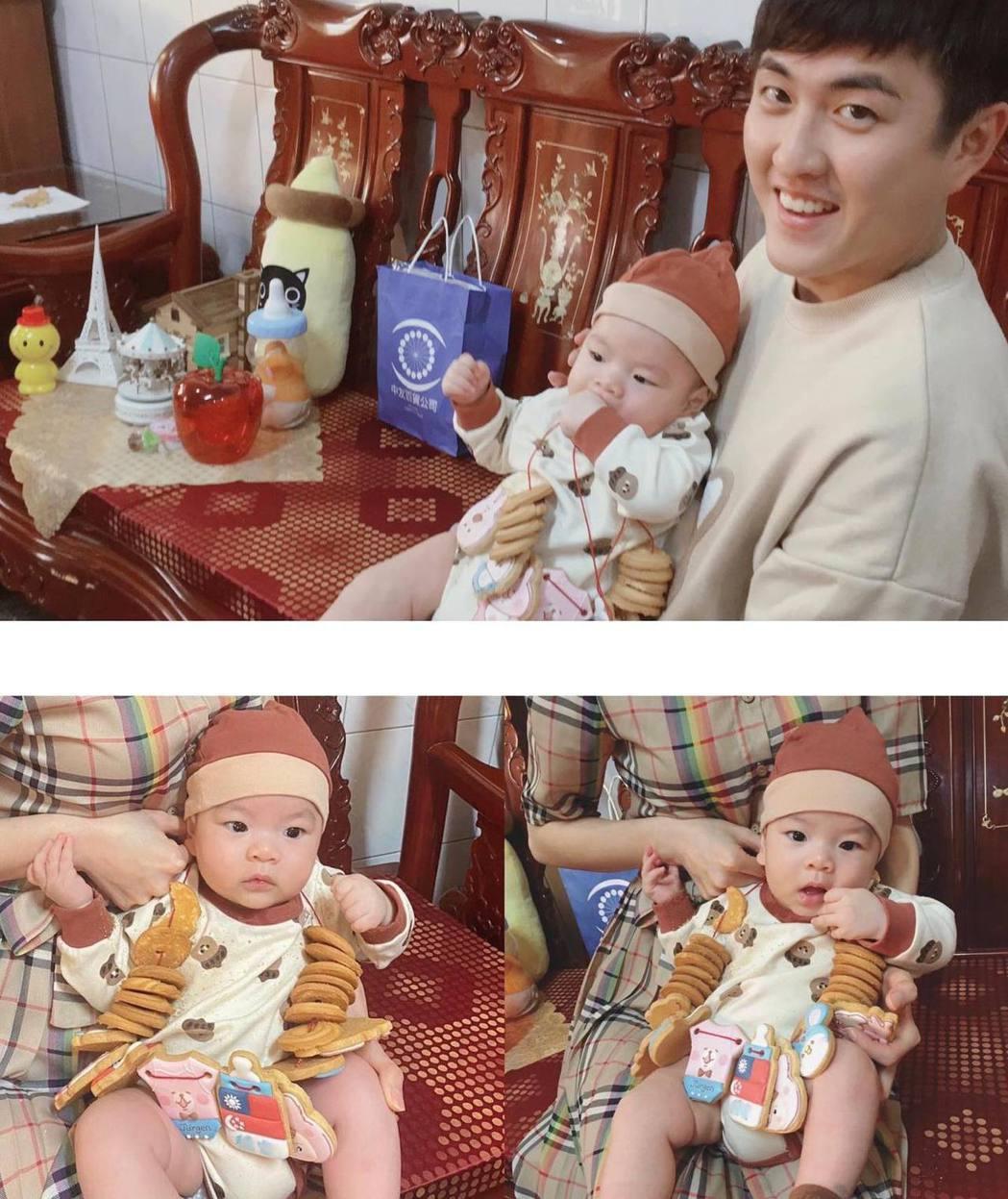 黃靖倫帶兒子回老婆娘家收涎。圖/摘自臉書