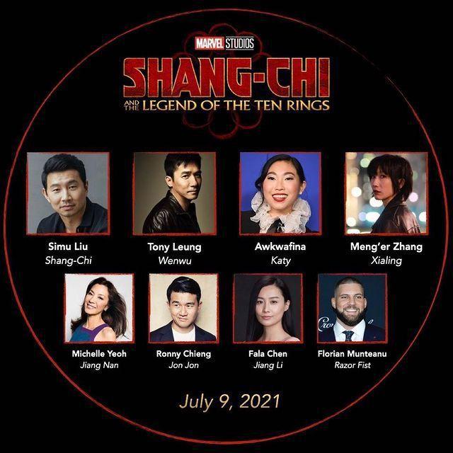 漫威英雄「上氣」首集電影的演員陣容,戲分最重的劉思慕(上左一)與奧卡菲娜(上右二