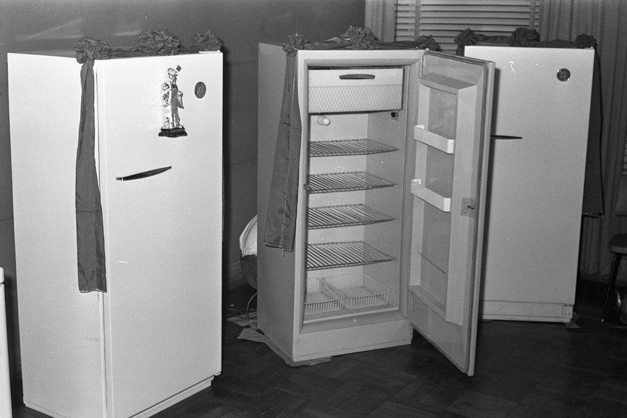 攝於1961年的舊冰箱。 圖/聯合報系資料照