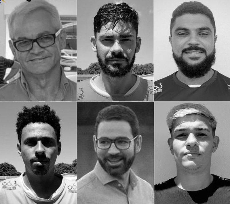巴西飛機空難,罹難者包括飛行員華格納(圖上左起)、28歲後衛諾埃、27歲門將魯納爾、(圖下左起)23歲左後衛普萊斯德斯、帕爾馬斯足球俱樂部32歲主席梅拉和中場莫利納里。(擷取自Instagram)