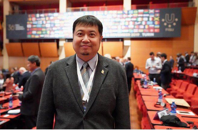 大專體總秘書長曾慶裕推5G技術轉播賽事。 中華民國大專院校體育總會/提供