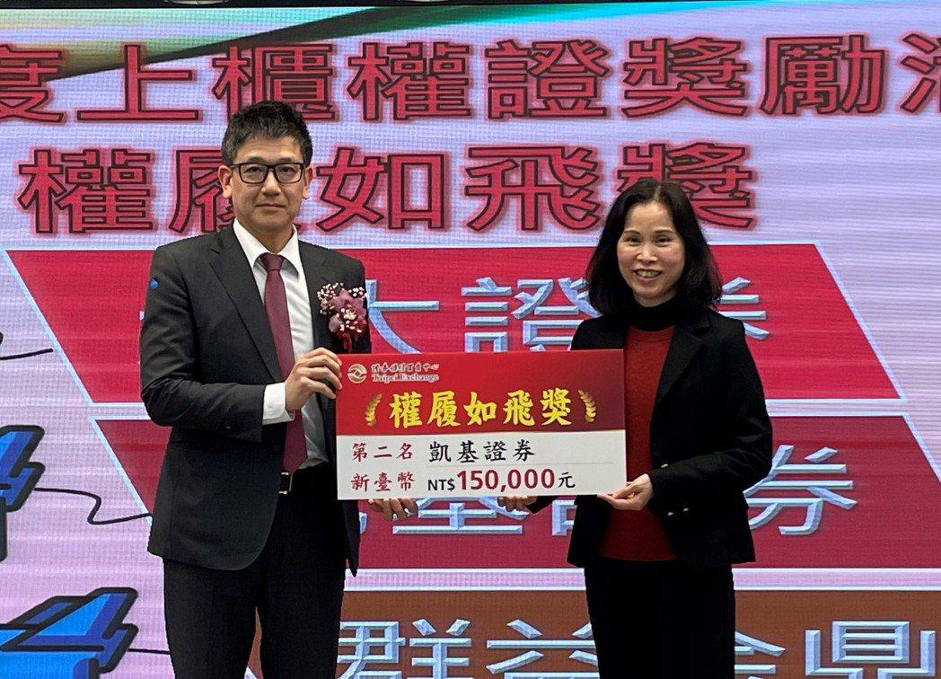 凱基證券獲櫃買中心頒發四獎項,由資深副總黃天仁(左)代表領獎。(凱基證券/提供)