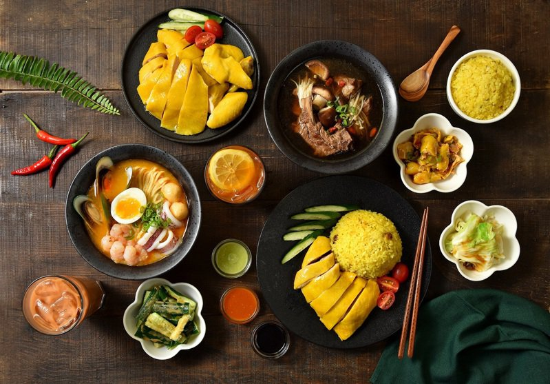 林記海南雞飯提供有海南雞飯、肉骨茶飯、叻沙海鮮湯麵等不同料理。圖/微風提供
