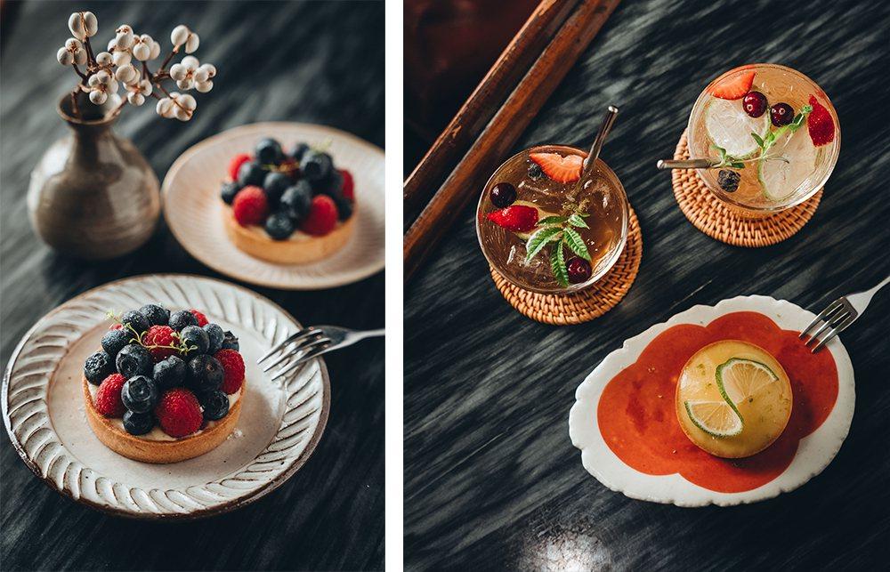 (左) 莓果塔以卡士達餡搭配飽滿藍莓及豔紅覆盆子,酸甜味覺誘人食慾。(右)屏東在...