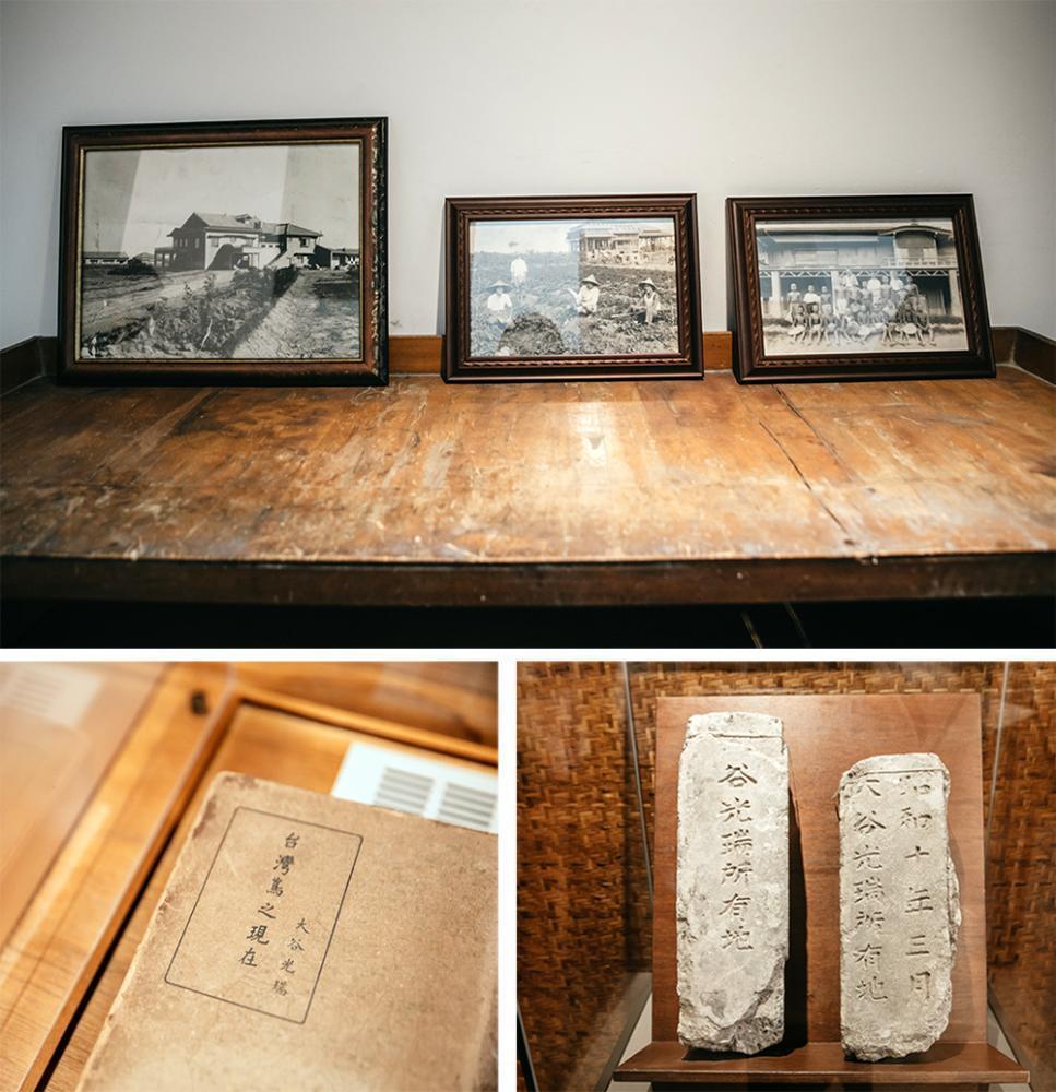 園內展示「大谷農園」的舊照,以及屋主大谷光瑞著作、所有地界碑等相關文獻資料。 攝...