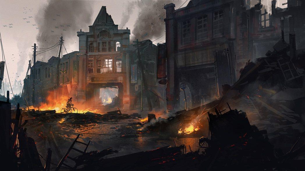 女主角在空襲中的大稻埕街區。