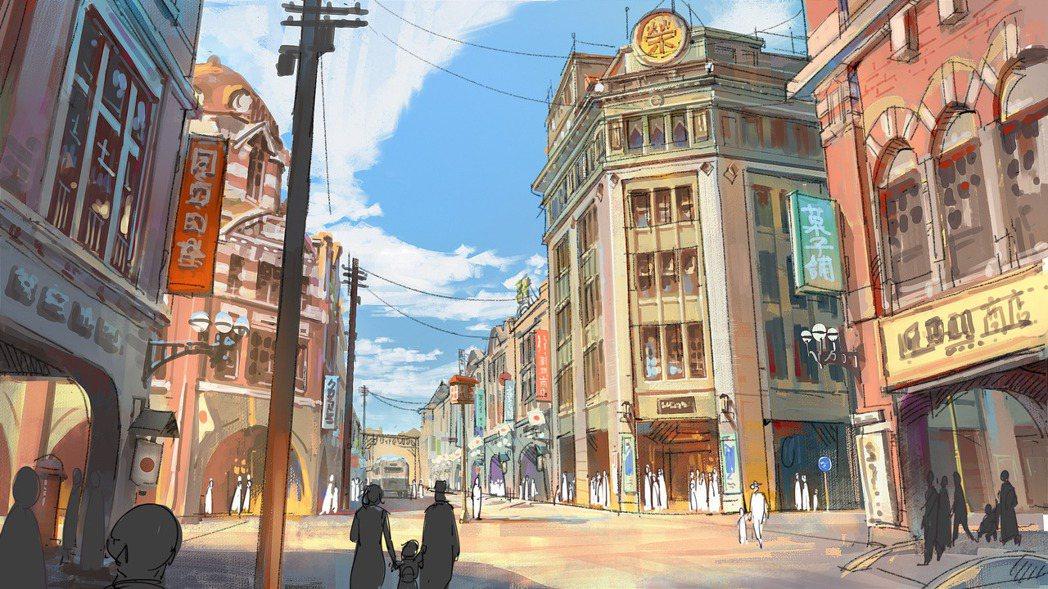 1930年代的榮町(今衡陽路一帶)街景,畫面中重現和平時代的榮景,以及全台第一座...