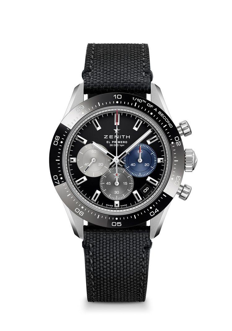 真力時CHRONOMASTER SPORT系列運動計時腕表黑面橡膠錶帶,30萬2...
