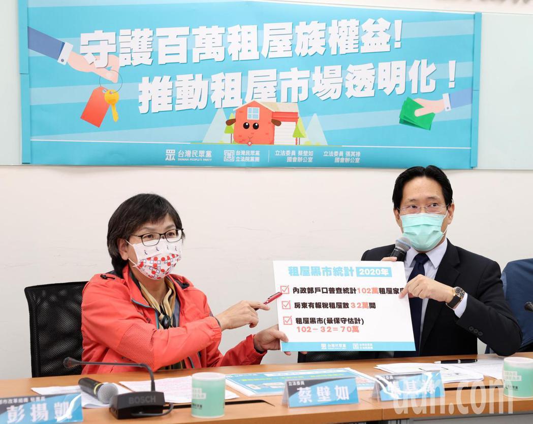 民眾黨立委蔡壁如(左)與張其祿上午舉行記者會。記者林澔一/攝影