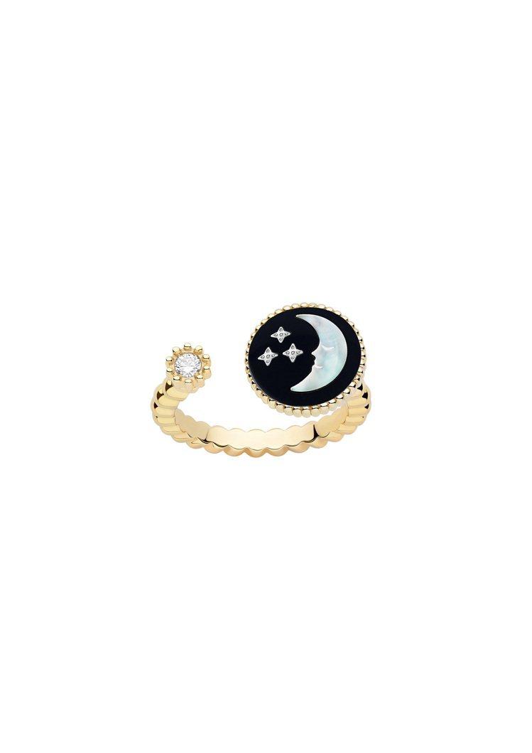 DIOR Rose Celeste月亮黃K金戒指,11萬4,000元。圖/DIO...