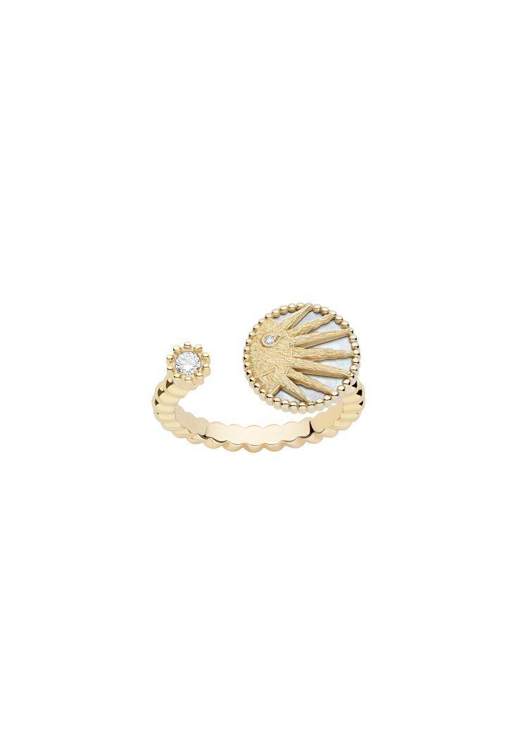 DIOR Rose Celeste太陽黃K金戒指,11萬4,000元。圖/DIO...