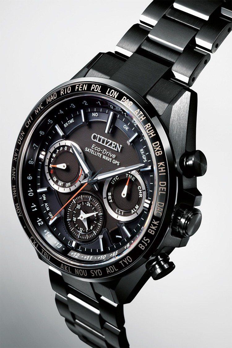 CITIZEN利用表面硬化技術Duratect DLC讓腕表呈現灰黑色調,並讓表...
