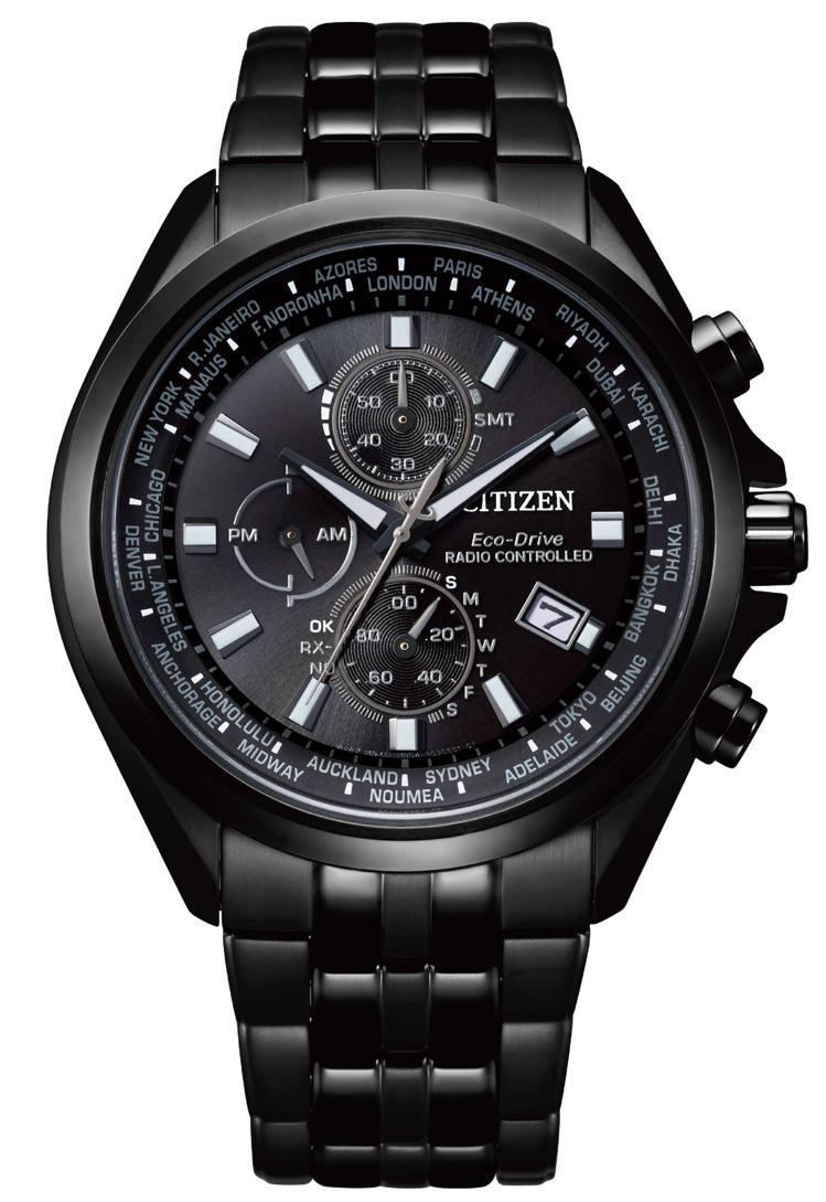 光動能全球電波AT8205-83E對時表,鍍碳黑色不鏽鋼表殼、表鍊,28,800...