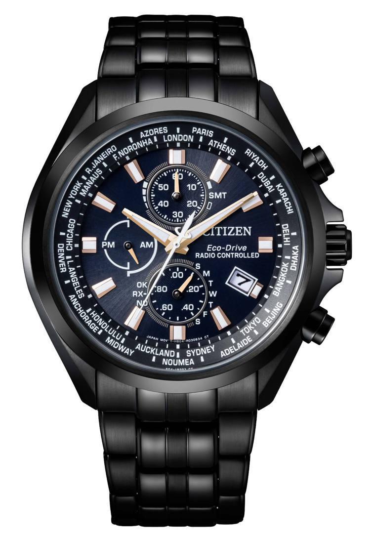 光動能全球電波AT8205-83L對時表,鍍碳黑色不鏽鋼表殼、表鍊,29,800...
