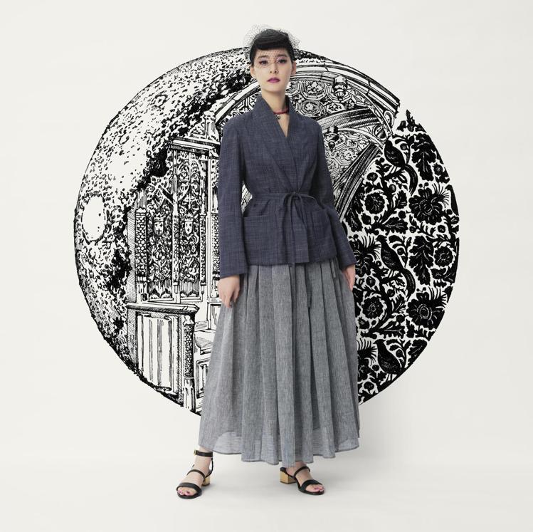 新木優子身穿DIOR經典Bar Jacket和紗裙。圖/DIOR提供