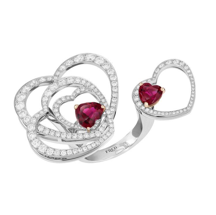 FRED Pretty Woman系列Glamorous項鍊可拆成紅碧璽和鑽石戒...