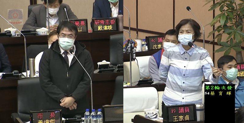 台南市長黃偉哲(左)昨天在議會臨時會中接受國民黨籍議員王家貞(右)質詢有關萊豬議題。記者修瑞瑩/翻攝