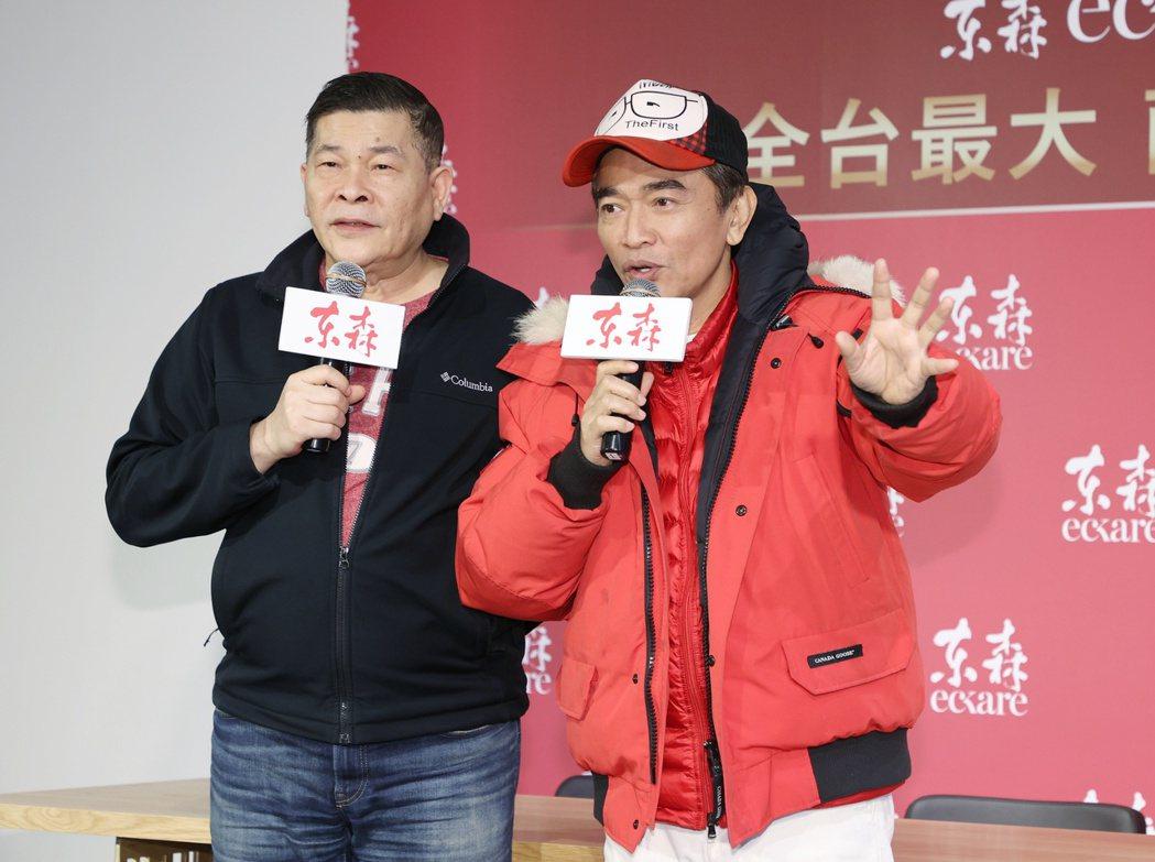 年初藝人澎恰恰(左)受邀加入電商平台拼還錢,藝人吳宗憲(右)也出席力挺。記者曾原