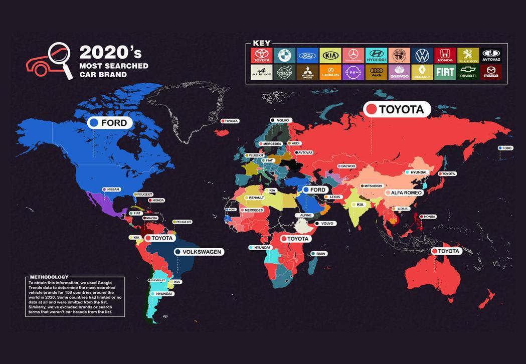 2020汽車品牌全球搜尋領先分布圖。 圖/摘自carbuzz.com
