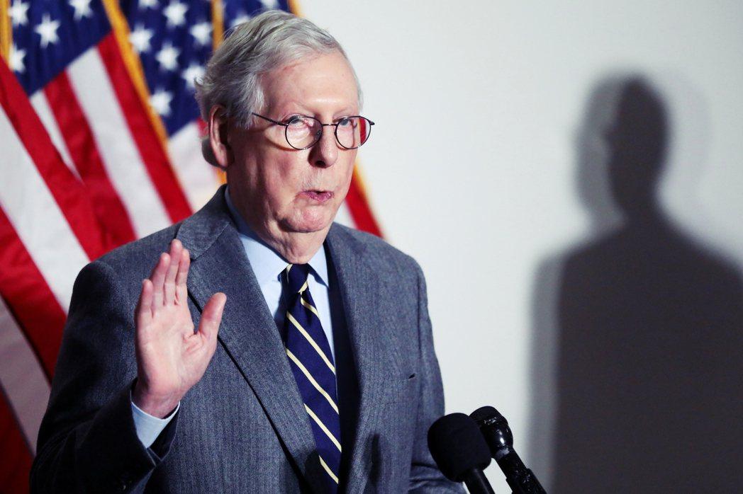 圖為握有議程談判大權、但與川普本人翻臉的共和黨參院少數黨領袖麥康諾(Mitch ...