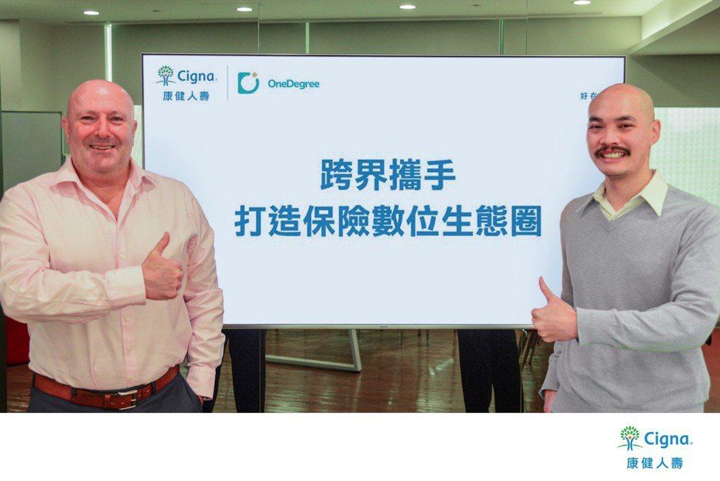 康健人壽總經理暨執行長邵駿崴 (Tim Shields) (左)宣布與OneDe...