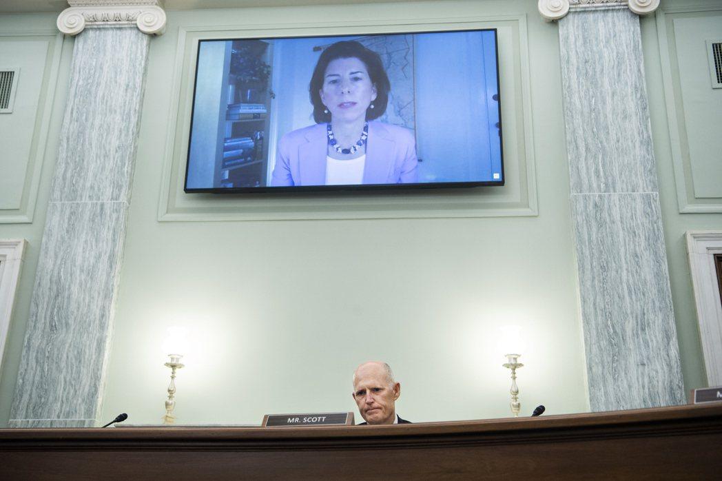 雷蒙多周二在參院商務委員會提名確認聽證會以視訊方式作證。歐新社