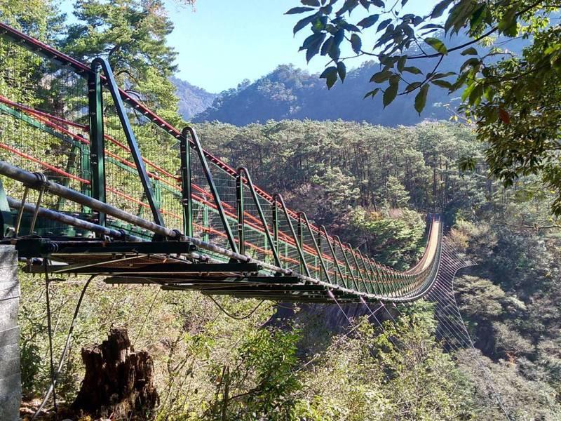 奧萬大吊橋去年8月封橋補強安全防護及監測功能,日前完工,預計30日重新開放。圖/南投林管處提供