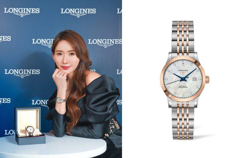 浪琴表代言人「志玲姐姐」林志玲也推薦了新年精選表款:浪琴表Record開創者系列玫瑰金男女腕表。圖 / Longines提供。
