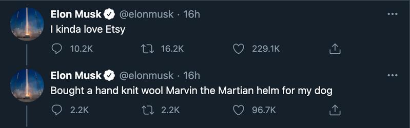 特斯拉執行長馬斯克周二推文,誇讚電商平台Etsy,因為他為自家寵物狗買了頂毛線帽,結果Etsy股價先漲後跌。擷自推特@elonmusk