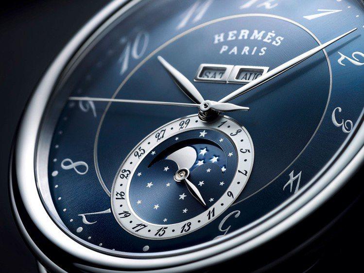 愛馬仕Arceau Grande Lune大月相腕表,43毫米精鋼表殼、自動上鍊...
