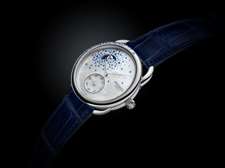 愛馬仕Arceau Petite Lune小月相珠寶腕表,38毫米精鋼鑲鑽與藍寶...
