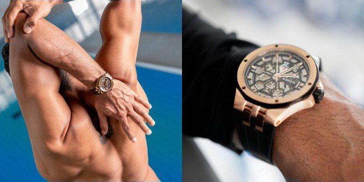 魔幻巡洋(Delfin Mecano)腕表的玫瑰金PVD表殼搭配鏤空機芯,散發高...