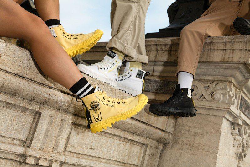 PALLADIUM在新年到來之際,推出回收寶特瓶再製的「RCYCL METRO」鞋款,呼應「永續潮流」概念。圖/PALLADIUM提供