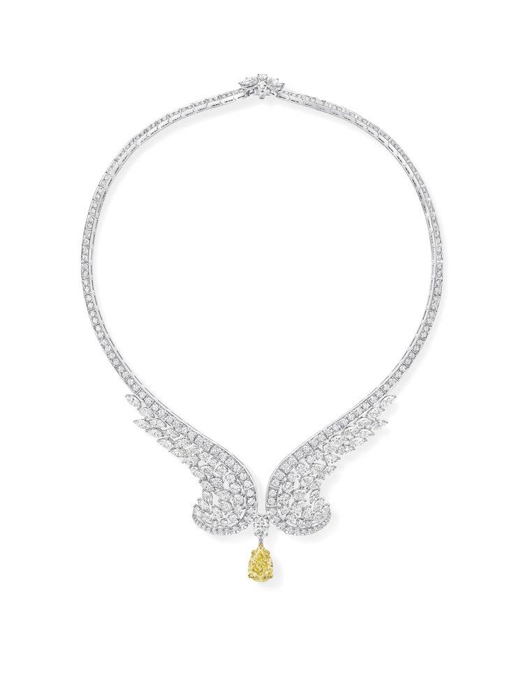 Harry Winston New York系列 Eagle黃鑽鑽石項鍊,鉑金、...
