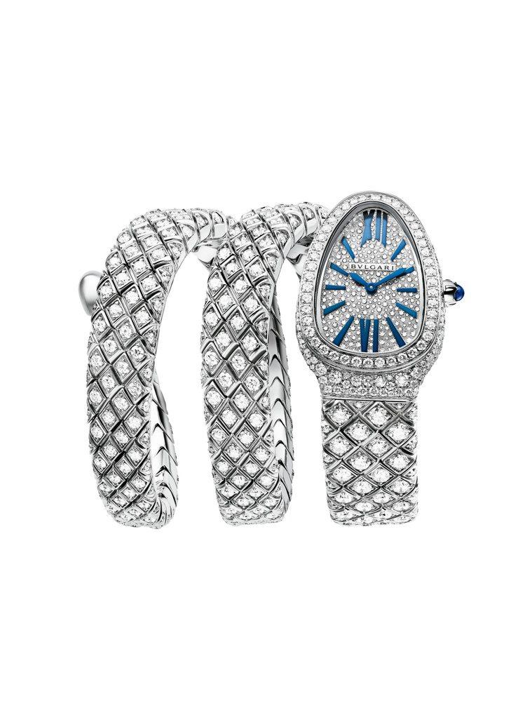 BVLGARI Serpenti Spiga頂級全鑲鑽珠寶腕表,436萬元。圖/...