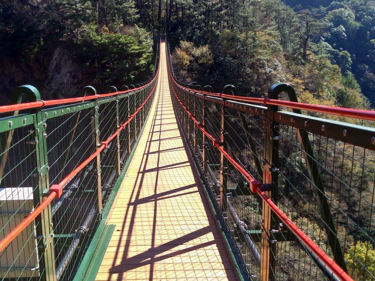 奧萬大吊橋去年8月封橋補強安全防護及監測功能,日前完工,預計30日重新開放。 圖...