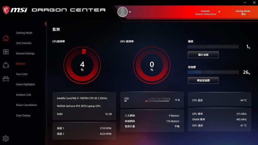 Dragon Center資源整合介面一次搞定系統監控、記憶體釋放到光源設定。 ...