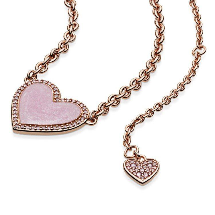 Pandora Rose粉紅宣言愛心琺瑯項鍊,8,180元, 僅部分門市限定販售...