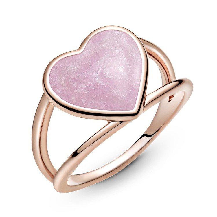 Pandora Rose粉紅宣言愛心琺瑯雙圈戒指,3,980元, 僅部分門市限定...