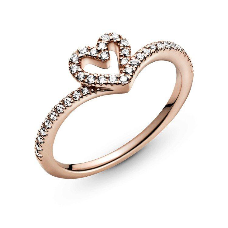 Pandora Rose璀璨愛心許願骨戒指 ,2,480元。圖/PANDORA提...
