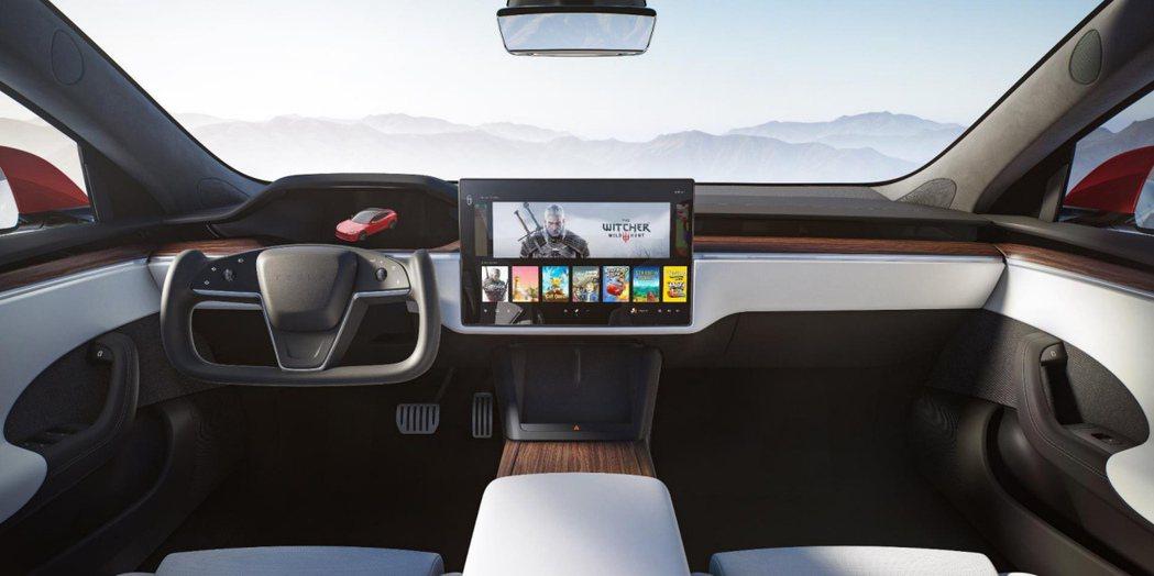 特斯拉Model S Plaid內裝。(彭博資訊/特斯拉提供)