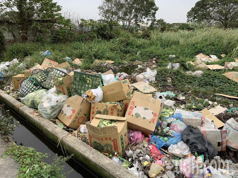 新竹縣竹北市麻園里溝貝地區一處私人土地,長年遭人傾到廢棄菜葉、寶特瓶等垃圾。記者陳斯穎/攝影