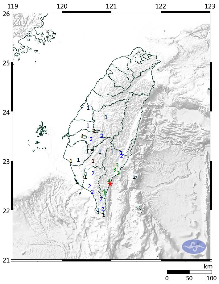台東今天下午發生苪氏規模5.0地震。圖/取自氣象局網站