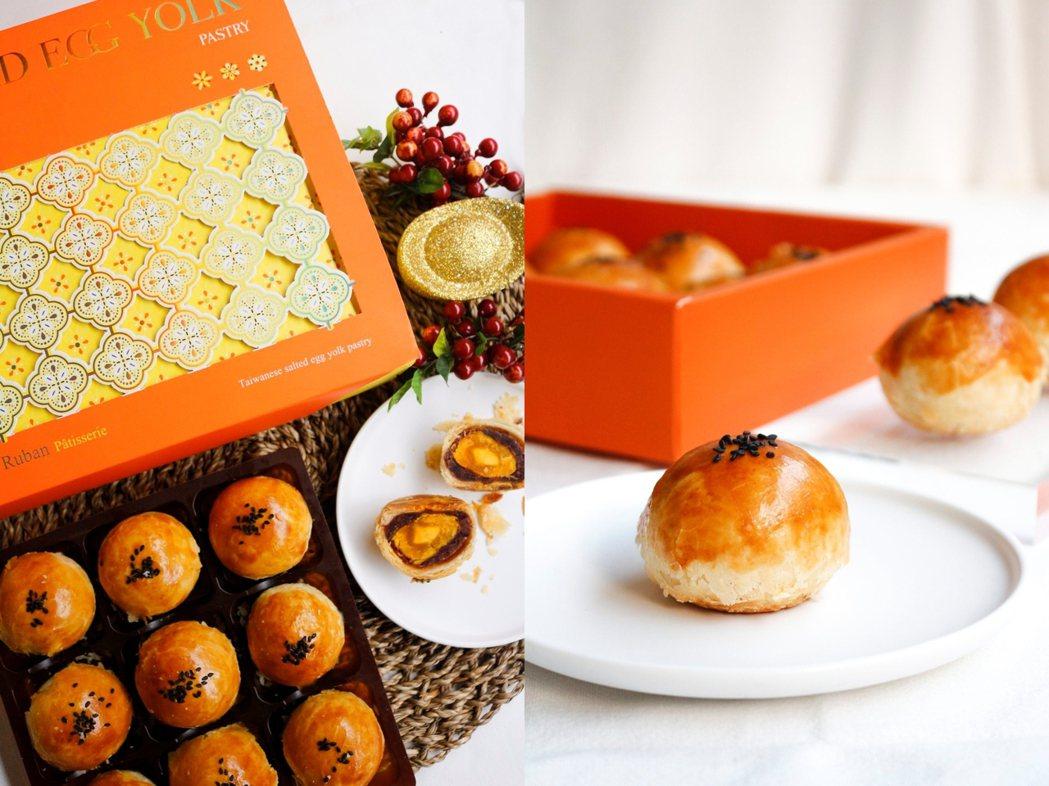 今年的特製蛋黃酥禮盒讓酥皮層次再升級。 圖/法朋烘焙甜點坊提供