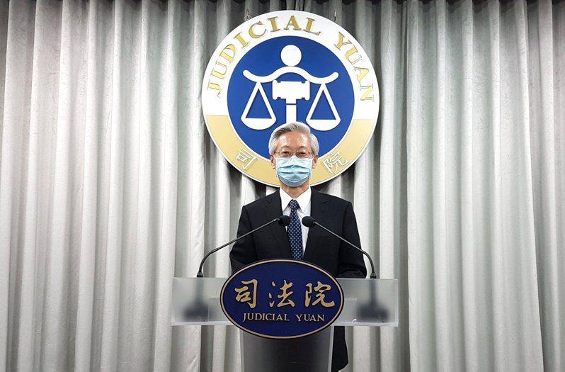 司法院祕書長林輝煌說明釋字第800號解釋。記者王宏舜/攝影