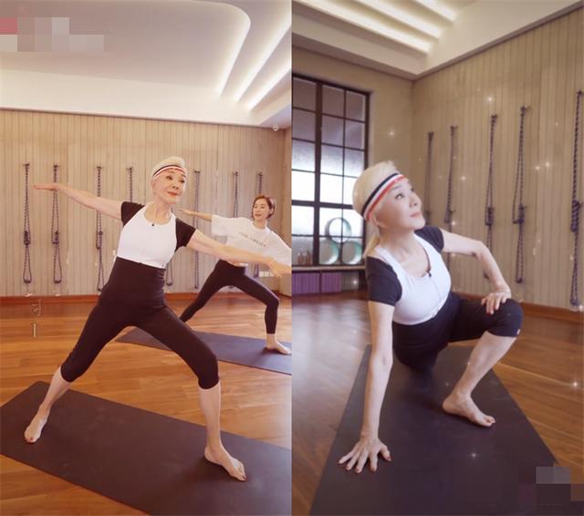 72歲夏台鳳一頭白髮做瑜珈,纖細身材不輸年輕人。圖/摘自新浪新聞