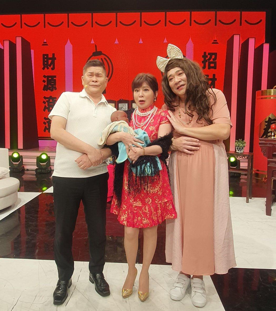 澎恰恰和王彩樺、白雲一起演出搞笑短劇。圖/AMM亞洲心動娛樂提供