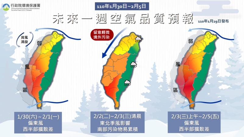 未來一周空氣品質預報。圖/取自環保署空氣品質監測網