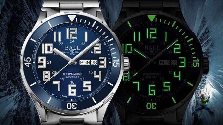 時間、指針、陶瓷外圈上的刻度,讓人在黑暗中也能方便讀取時間。圖 / 波爾表提供。