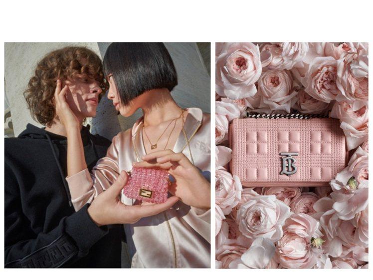 FENDI和BURBERRY在情人節都推出粉色系單品。圖/FENDI、BURBE...